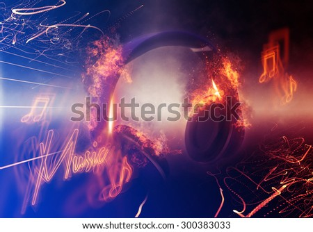 Modern Illuminated Headphones with Fire Effect Dramatically Lit from Side with Small Light Beams and Music Slogan. 3d Rendering.