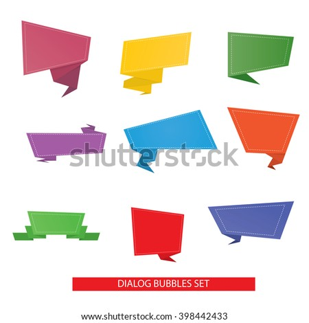 Modern illustration of origami speech bubble set