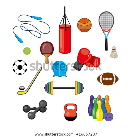 Modern illustration of sport equipments, sports inventory