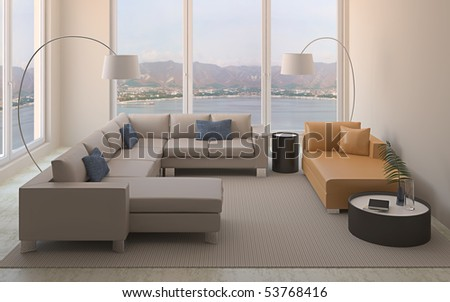 Modern interior of living-room. 3d render.