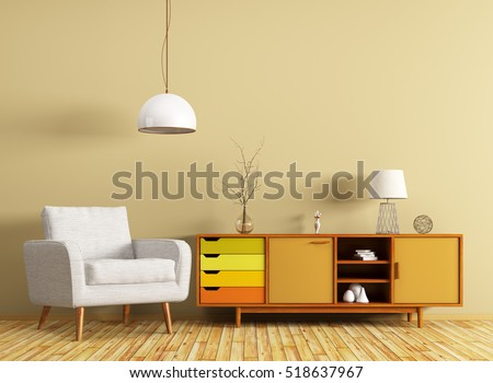 Modern interior of living room with wooden dresser and white armchair 3d rendering