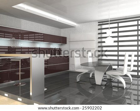 modern interrior of the kitchen room 3D
