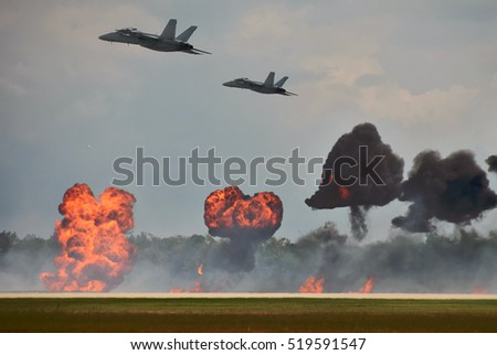 Modern jetfighters ob a bombing mission