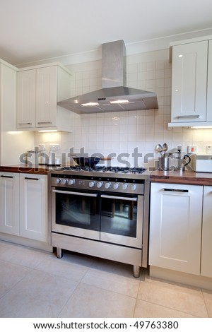 Modern Kitchen Range contemprary cream colored modern kitchen range stock photo