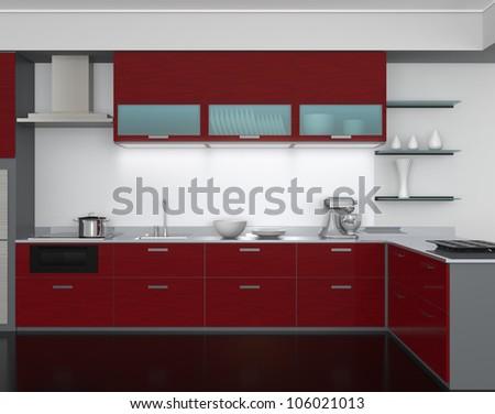 Modern Kitchen Design With Burgundy Tone(front View) Part 39