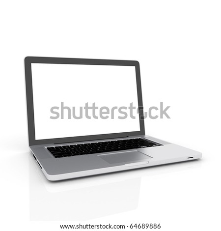 Modern laptop isolated on white with reflections