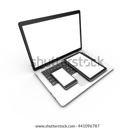 Modern laptop, tablet and smartphone isolated on white. 3d rendering.