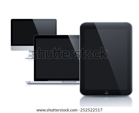 Modern LCD computer monitor (LCD display panel) on reflective background