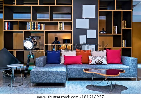 University retro sofa interiors for living room modern bookcase - Private Loft Office Bookcase Leather Sofa Stock Photo
