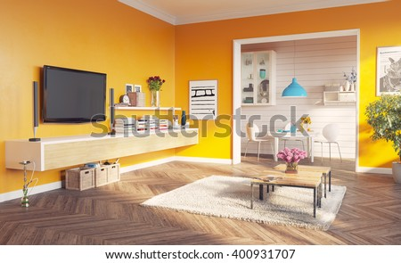 modern living room interior. 3d rendering design concept