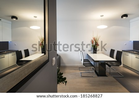 Modern living room interior with kitchen and mirror