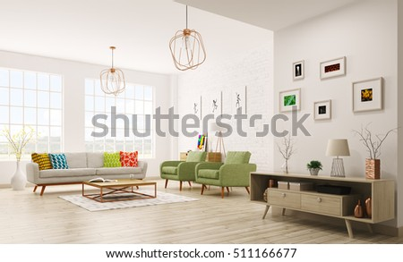 Modern Living Room Interior With Sofa, Armchairs, Scandinavian Style 3d  Rendering Part 81