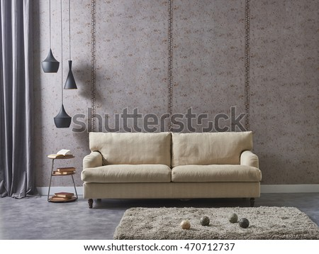 modern living room sofa and armchair with vase of grass - Modern Living Room Sofa Set