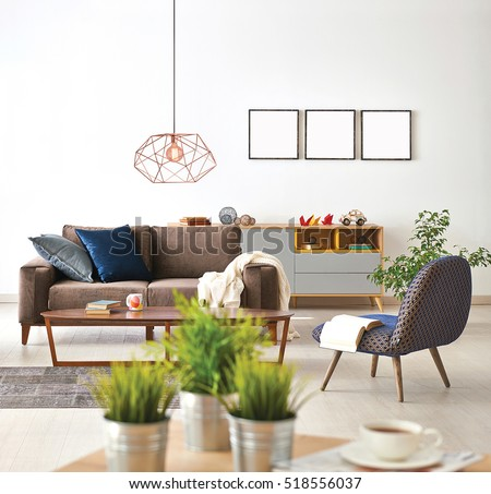 Modern Living Room Sofa And Armchair With Vase Of Grass, Modern Lamp Part 83