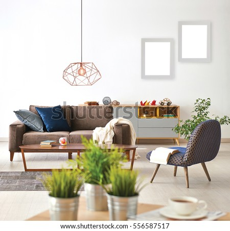 modern lamps for living room. modern living room sofa and armchair with vase of grass  lamp frame Modern Living Room Sofa Armchair Vase Stock Photo 518556037