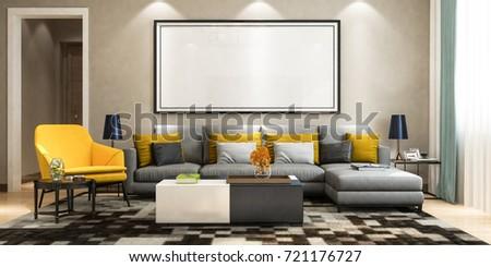 Modern Living Room Dinning Set Tv Stock Illustration 677047024