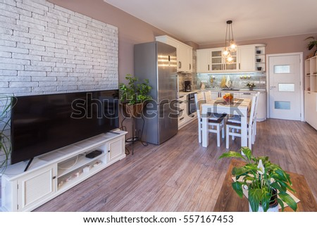 Modern living room with kitchen. Interior photography.