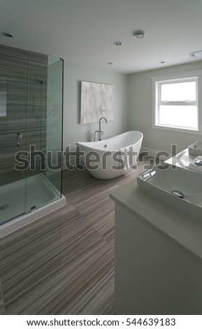 Modern luxury bathroom with bathtub. Interior design.