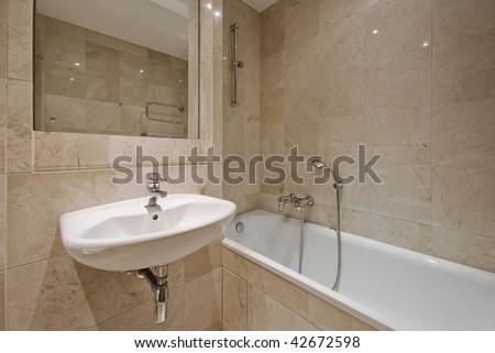 Master Bath Luxury Home Large Glass Stock Photo 46754305