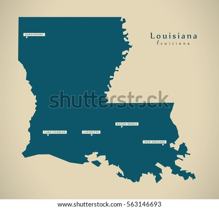Louisiana Usa Map Grey Stock Vector Shutterstock - Louisiana on usa map