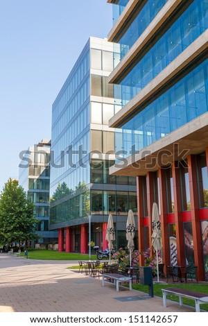 Modern Office Building Detail Transparent Glass Stock Photo - Modern office building