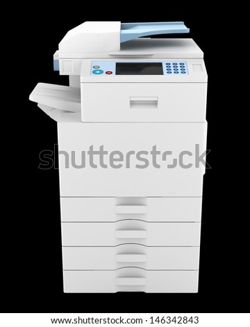 modern office multifunction printer isolated on black background