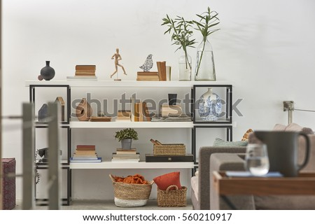 Snowwhite living room interior modern style stock photo for Living office concept