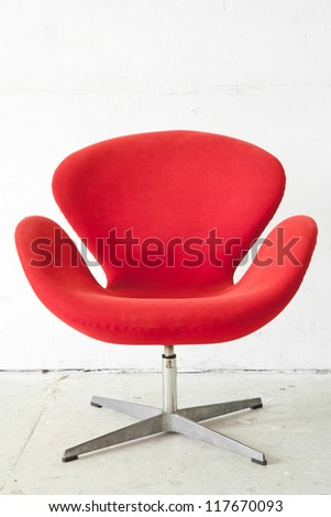 modern red Chair contemporary style in vintage room