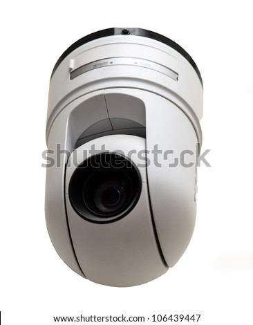 Modern security camera isolated on white