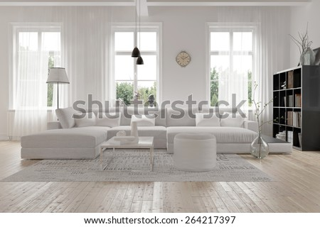 Modern Spacious Lounge Or Living Room Interior With Monochromatic White  Furniture And Decor Below Three Tall Part 62