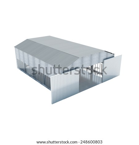 Modern Storehouse with opened doors isolated on white background
