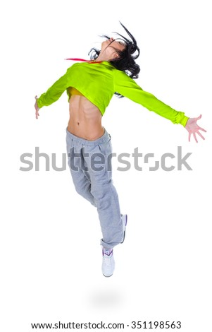 modern style dancer jumping on white background