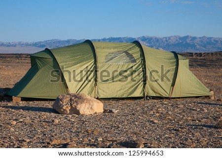 Modern tent in the stony desert