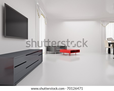 Modern TV In Room. Interior Of The Modern Room. High Resolution Image. 3d Part 95