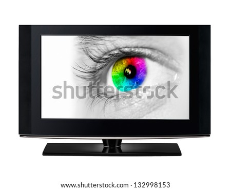 Modern TV showing a color eye.