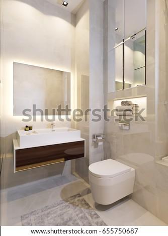 modern urban bathroom wc interior design with beige tiles mirror wall 3d rendering