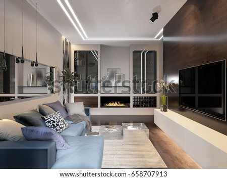 Modern Urban Contemporary Living Room Hotel Interior Design With Gray Beige  Walls, Fireplace, Aquarium Part 79