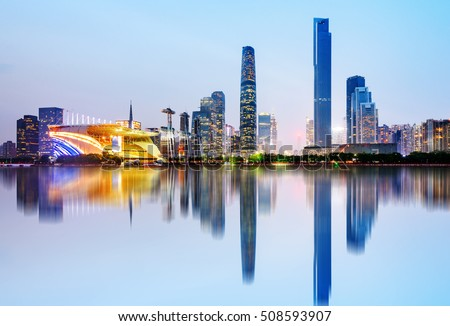 Modern urban night view, Pearl River New City, Guangzhou, China
