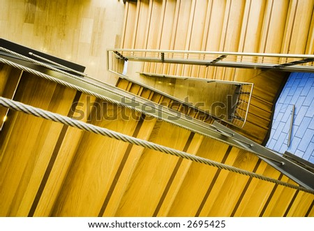 modern wood and steel staircase