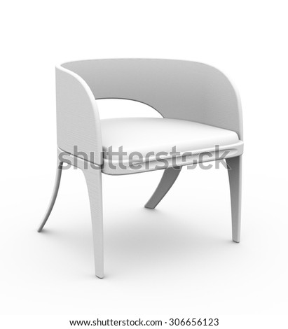 Modern wooden gray chair isolated on white 3d model