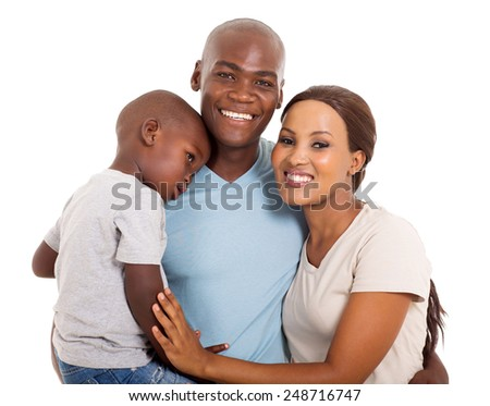 modern young African family portrait isolated on white