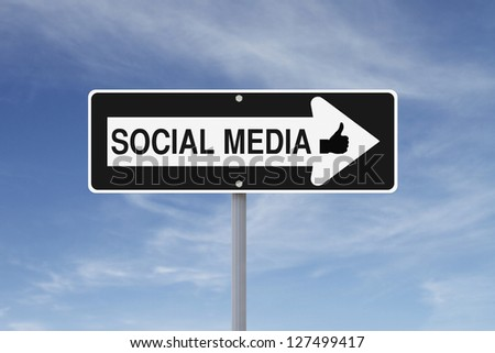 Modified one way sign indicating Social Media (against a blue sky background)