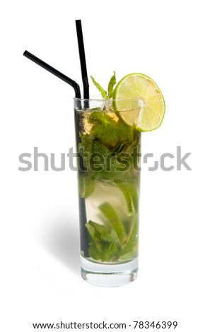 mojito in a glass isolated on white background