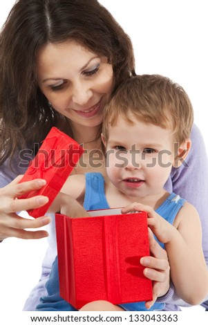 Mom giving gift for her son