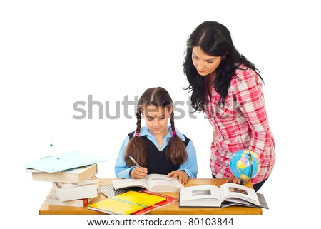 Mom helping daughter with homework isolated on white background
