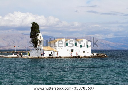 Monastery on island in sea. Kanoni, Corfu, Greece