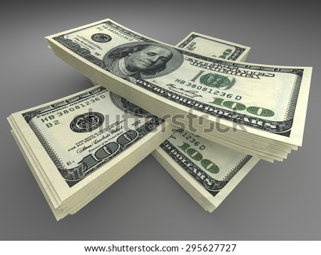 Money and finance concept - many dollars banknotes