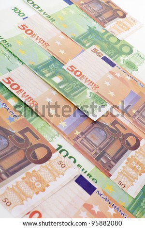Money background. European currency - fifty and hundred euro banknotes.