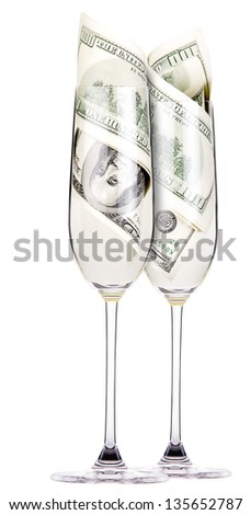 money Cocktail business concept present isolated