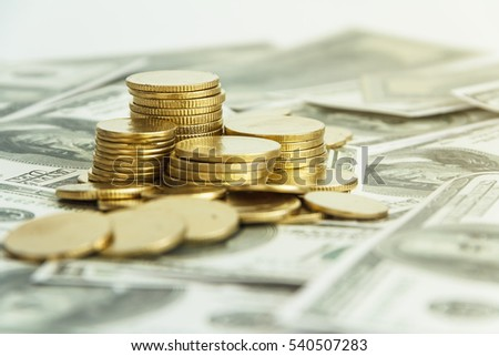 Money. Dollars and coin. savings and investments
